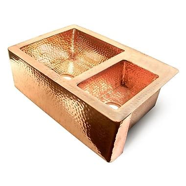 D'Vontz Copper 36'' x 22'' 60/40 Double Bowl Farmhouse Kitchen Sink; Shiny Copper