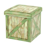 Quickway Imports Vintique Leather Folding Storage Ottoman; Green
