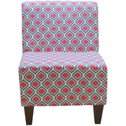 Fox Hill Trading Penelope Armless Curt Medallion Slipper Chair; Coral