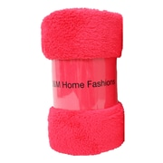 J&M Home Fashions Bright Fuzzy Fleece Throw; Raspberry