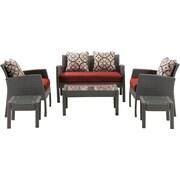Hanover Chelsea 6 Piece Space-Saving Patio Set w/ Cushion; Crimson Red