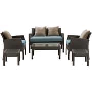 Hanover Chelsea 6 Piece Space-Saving Patio Set w/ Cushion; Ocean Blue