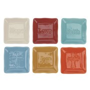 CKK Home D cor, LP Stonebriar 6 Piece Square Embossed Sentiment Ceramic Plate Set