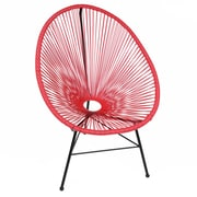PoliVaz Acapulco Wire Basket Lounge Chair Indoor/Outdoor Stackable; Red