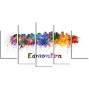 DesignArt Metal 'Edmonton Skyline' Painting Print; 12'' H x 28'' W