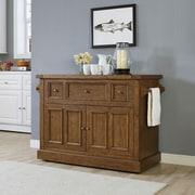 Crosley Sienna Kitchen Island with Marble Top; Moroccan Pine