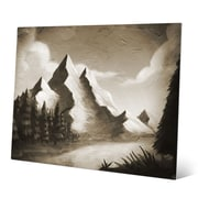 Click Wall Art 'Vintage Mountain by the River' Painting Print; 20'' H x 30'' W x 0.04'' D