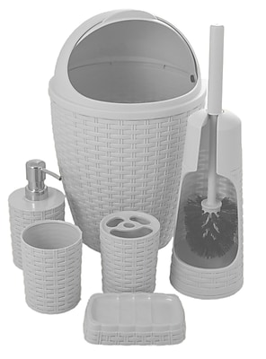 Superior Performance Brand Palm Luxe 6-Piece Bathroom Accessory Set; White WYF078279412810