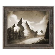 Click Wall Art 'Vintage Mountain by the River' Framed Painting Print; 23.5'' H x 33.5'' W x 1'' D