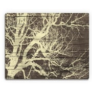 Click Wall Art 'Tree Silhouette on Wood' Graphic Art on Plaque; 11'' H x 14'' W x 1'' D