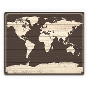 Click Wall Art 'World Map on Dark Wood' Graphic Art on Plaque; 9'' H x 12'' W x 1'' D