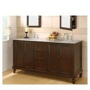 Direct Vanity Sink Classic 70'' Double Bathroom Vanity Set; Carrera White Marble