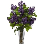 Tori Home Lilac Silk Flower Arrangement w/ Decorative Vase; Purple