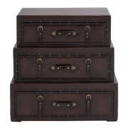 Cole & Grey 3 Piece Wood Leather Trunk Dresser Set; Brown