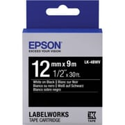 "Epson® LabelWorks LK-4BWV 1/2"" Thermal Transfer Data Cartridge Label, White On Black"