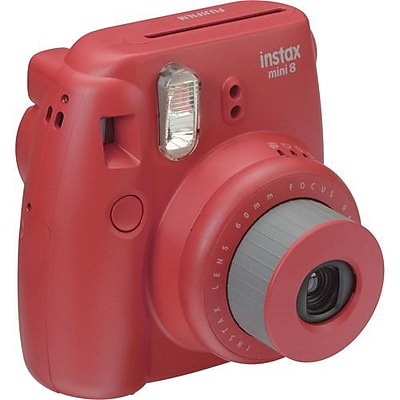 Fujifilm Instax Mini 8 Instant Film Camera Bundle, 60 mm, Raspberry