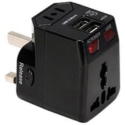 QVS® Premium World Travel Power Adaptor with Surge Protection and 2.1A Dual-USB Charger, Black (PA-C4BK)