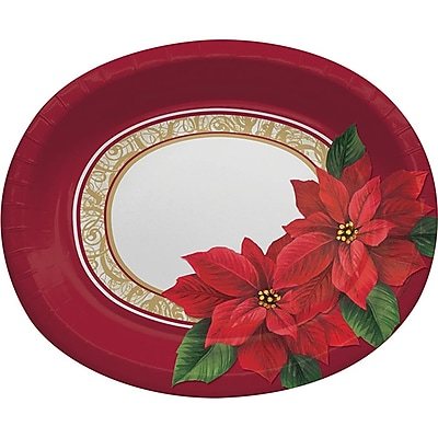 Creative Converting Poinsettia Lace Oval Plates, 8 pack (317125) 2453667