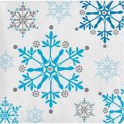 Creative Converting Snowflake Swirls Beverage Napkins, 16 pack (317147)