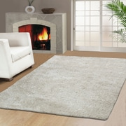 Simple Luxury Superior Hand-Woven Ivory Area Rug; 5' x 8'