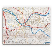 Click Wall Art 'Pittsburgh City Roads on Wood ' Graphic Art on Plaque; 20'' H x 24'' W x 1'' D