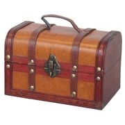Vintiquewise Decorative Wood Leather Treasure Box