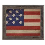 Click Wall Art 'American Flag on Wood Horizontal' Framed Graphic Art; 23.5'' H x 33.5'' W x 1'' D