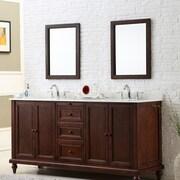 Direct Vanity Sink Classic 70'' Double Bathroom Vanity Set; White Marble