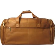 David King 20.5'' Leather Multi Pocket Travel Duffel; Tan