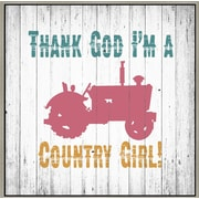 Green Leaf Art 'Country Girl' Framed Textual Art on Canvas; 12'' H x 12'' W x 1.5'' D
