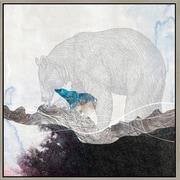Green Leaf Art 'Bear 2' Framed Graphic Art on Canvas; 12'' H x 12'' W x 1.5'' D