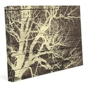 Click Wall Art 'Tree Silhouette on Wood' Graphic Art on Wrapped Canvas; 11'' H x 14'' W x 1.5'' D