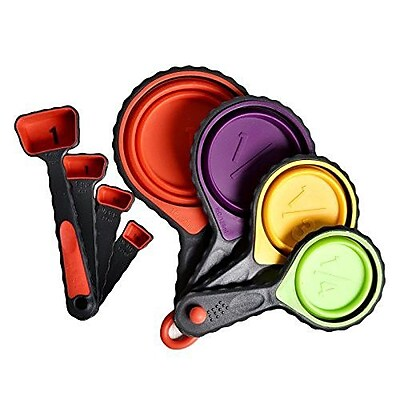 Welland Industries LLC 8 Piece Silicone Collapsible Measuring Cups and Spoons Set WYF078279243519
