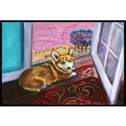 Caroline's Treasures Corgi Watching from the Door Doormat; 1'6'' x 2'3''