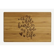 Koyal Wholesale ''With My Whole Heart'' Wood Cutting Board