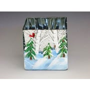 ChristinasHandpainted Winter in the Woods Hand Painted Glass Vase