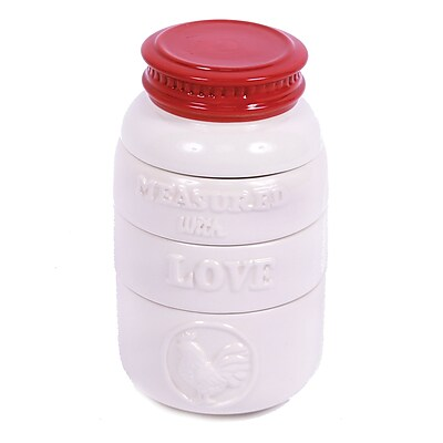 DEI Farm to Table 4 Piece Ceramic Mason Jar Shaped Measuring Cups Set WYF078279042355