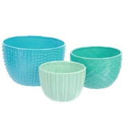 DEI Sea Life 3 Piece Ceramic Nested Bowl Set