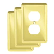 Franklin Brass Stamped Round 1 Gang Duplex Wall Plate (Set of 3); Polished Brass