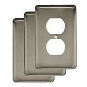Franklin Brass Stamped Round 1 Gang Duplex Wall Plate (Set of 3); Satin Nickel