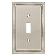 Franklin Brass Classic Beaded Single Switch Wall Plate (Set of 3); Satin Nickel