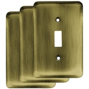 Franklin Brass Stamped Round Single Switch Wall Plate (Set of 3); Antique Brass