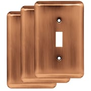 Franklin Brass Stamped Round Single Switch Wall Plate (Set of 3); Antique Copper