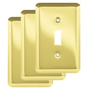 Franklin Brass Stamped Round Single Switch Wall Plate (Set of 3); Polished Brass