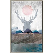 Green Leaf Art 'Deer and Mountains 2' Framed Graphic Art on Canvas; 18'' H x 12'' W x 1.5'' D