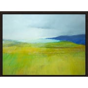 Green Leaf Art 'Landscape With Blue' Framed Painting Print on Canvas; 11'' H x 14'' W x 1.5'' D