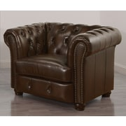 DLND DeCoro Barrister Stationary Leather Arm Chair