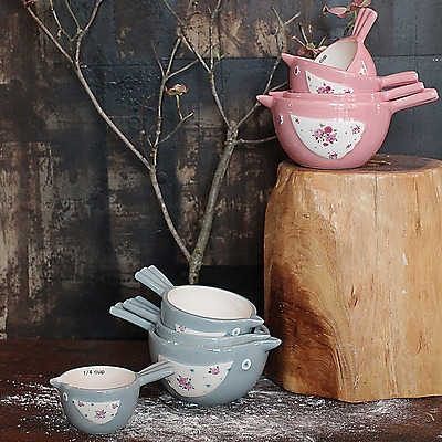 Creative Co-Op Cottage 8 Piece Ceramic Bird Measuring Cup Set WYF078279260023