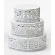 Opulent Treasures Cherry Blossum 3 Piece Cake Stand Set; White