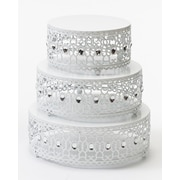 Opulent Treasures Moroccan 3 Piece Cake Stand Set; White